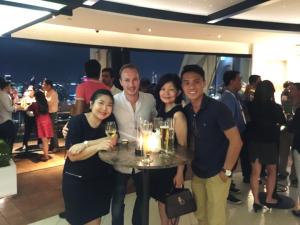 beng choo, ronan and veron at a party